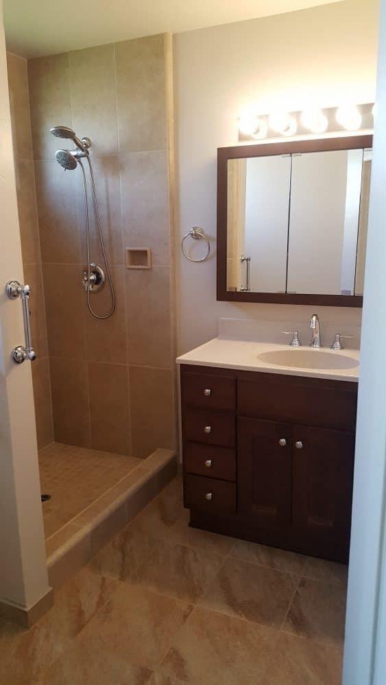 Shower & Floor Tile,Vanity and Medicine Cabinet Installation