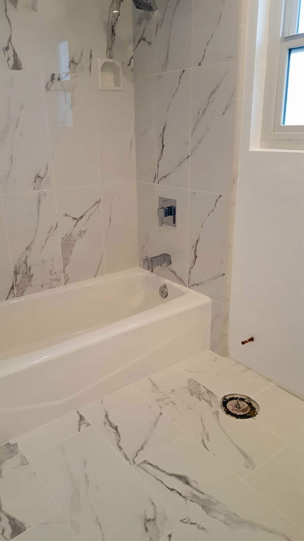 Porcelain Tile Tub Surround and Floor