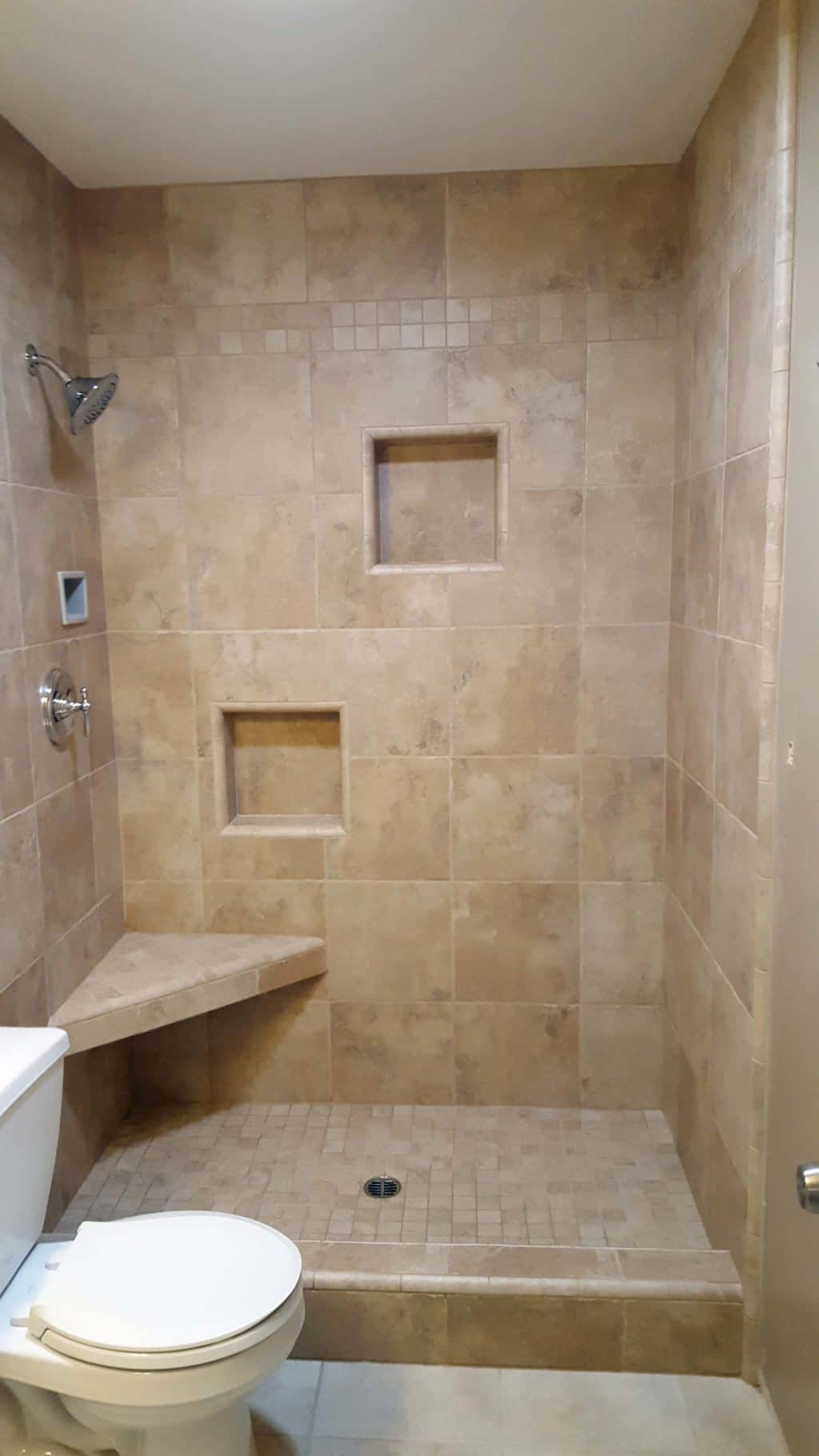 Tile Shower With Corner Bench Seat